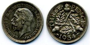 1 Threepence Regno Unito (1922-) Argento Giorgio V (1865-1936)