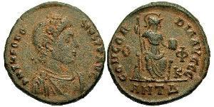 1 Follis /  AE3 Impero romano (27BC-395) Bronzo Teodosio I (347-395)