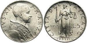 5 Lira Vatikan (1926-) Aluminium Pius XII  (1876 - 1958)