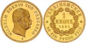1 Krone Royaume de Prusse (1701-1918) Or Wilhelm I, German Emperor (1797-1888)