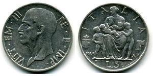 5 Lira Kingdom of Italy (1861-1946) Silver