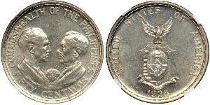 50 Centavo Filippine Argento