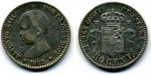 50 Centavo Kingdom of Spain (1874 - 1931) Silver