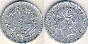 5 Franc Vierte Französische Republik (1946-1958) Aluminium