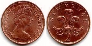 2 Penny Reino Unido (1922-) Cobre Isabel II (1926-)