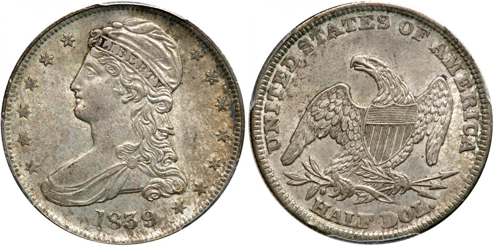 1 2 Dollar 50 Cent 1838 1839 Usa 1776 Silver