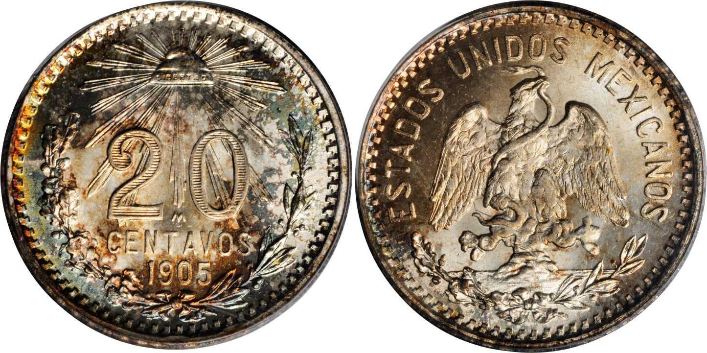 Moneda 20 centavo m xico 1867 plata 1913 precio km 435 - Coin de finition plinthe ...