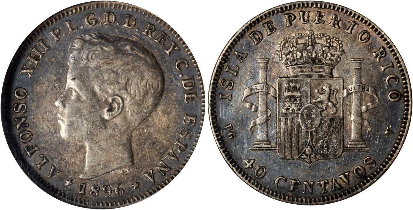 Moneda 40 centavo puerto rico plata 1896 alfonso xiii of spain 1886 1941 precio km 40 - Coin de finition plinthe ...