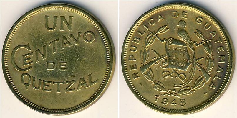 Moneda 1 centavo guatemala 1838 lat n 1948 precio km 249 - Coin de finition plinthe ...